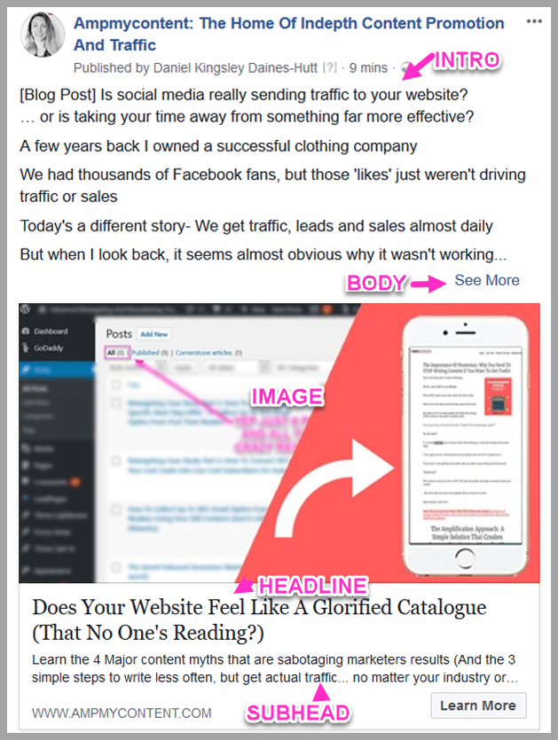 How ad copy is broken up in a facebook ad