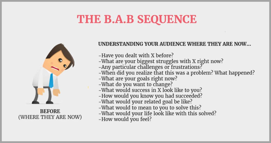 Questioons for your audience in the 'before' state