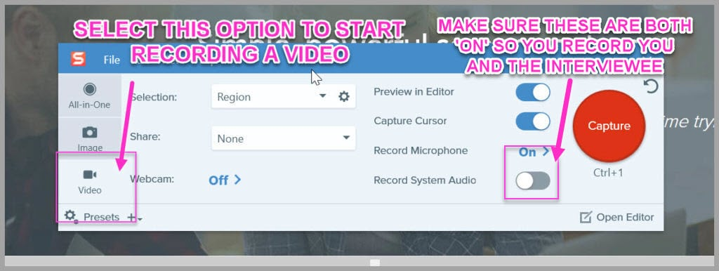 You can use Snagit to record audio and video interviews