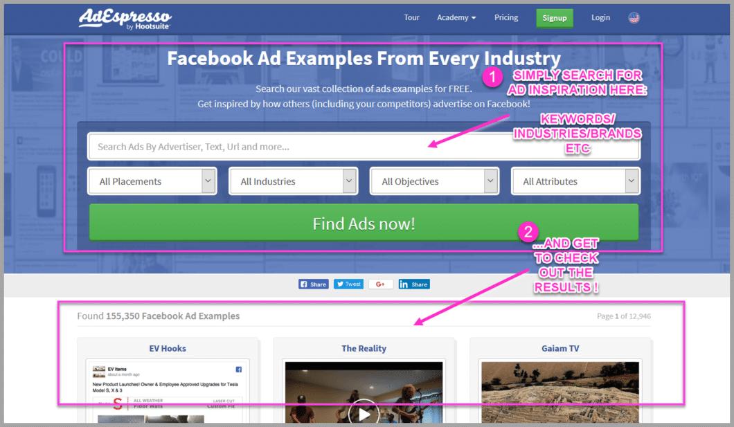 Check out adespressos facebook ad swipe files
