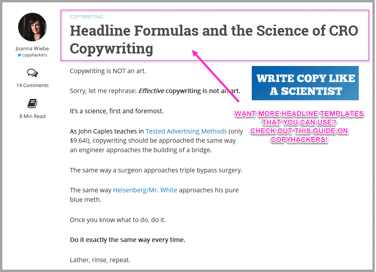 Check out copyhackers own headline templates