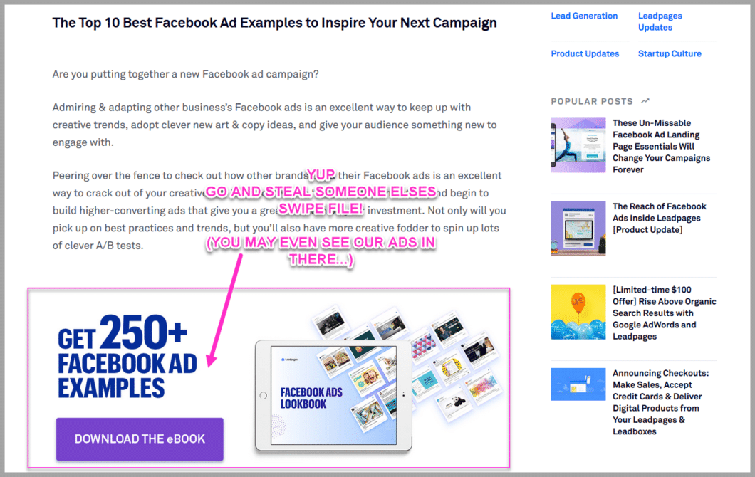 Leadpages facebook ad swipe file