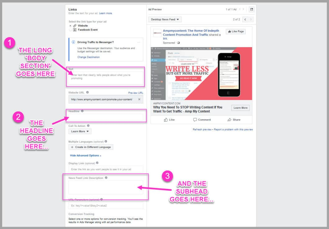 Set up your ad copy for you test ad control