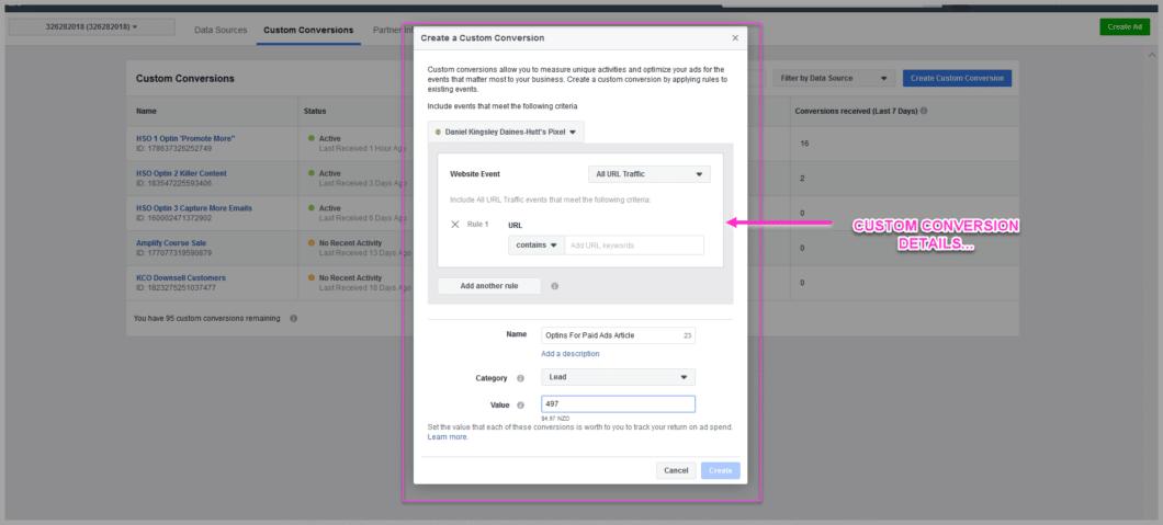 The facebook custom conversion settings