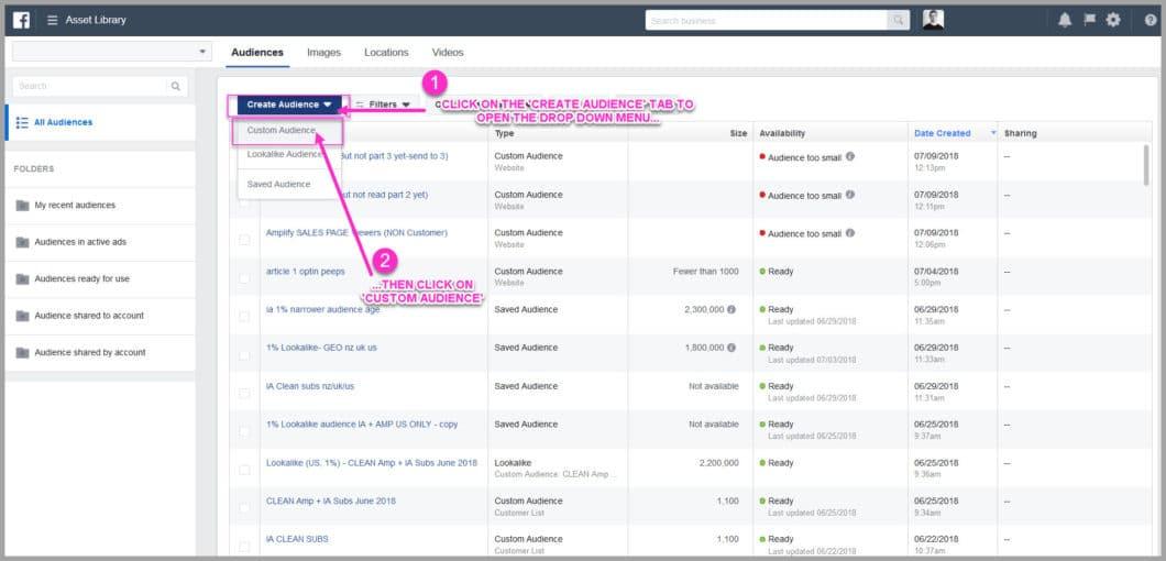 Create a facebook custom audience