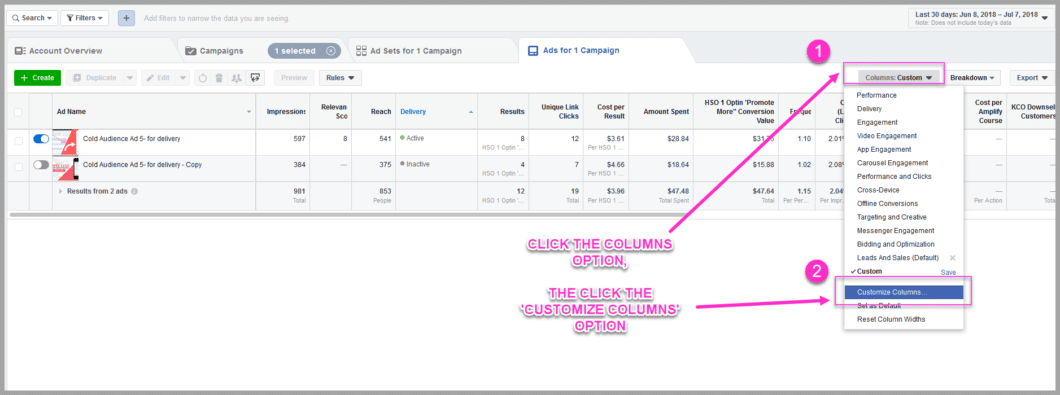 Choose the custom columns in your facebook ads manager dashboard