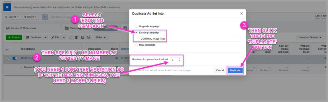 Create as many ad sets as variations that you want to test