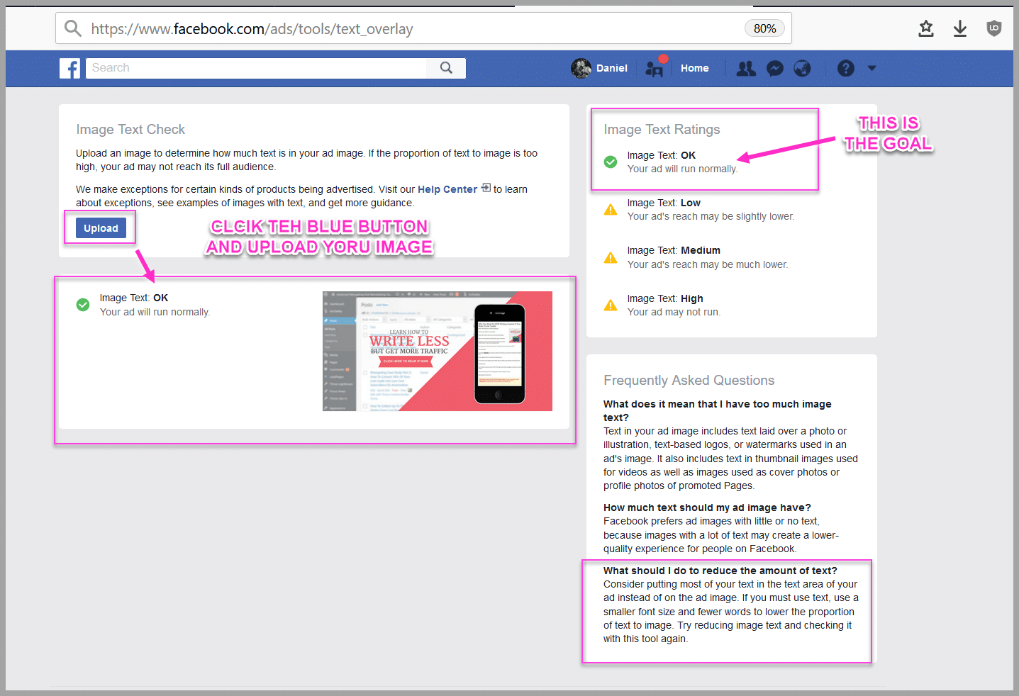 Use the facebook text overlay to test your ad design