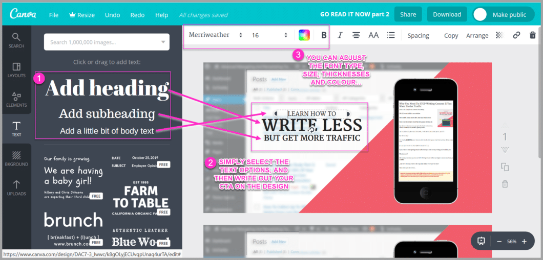 Use different font sizes to help your cta stand out