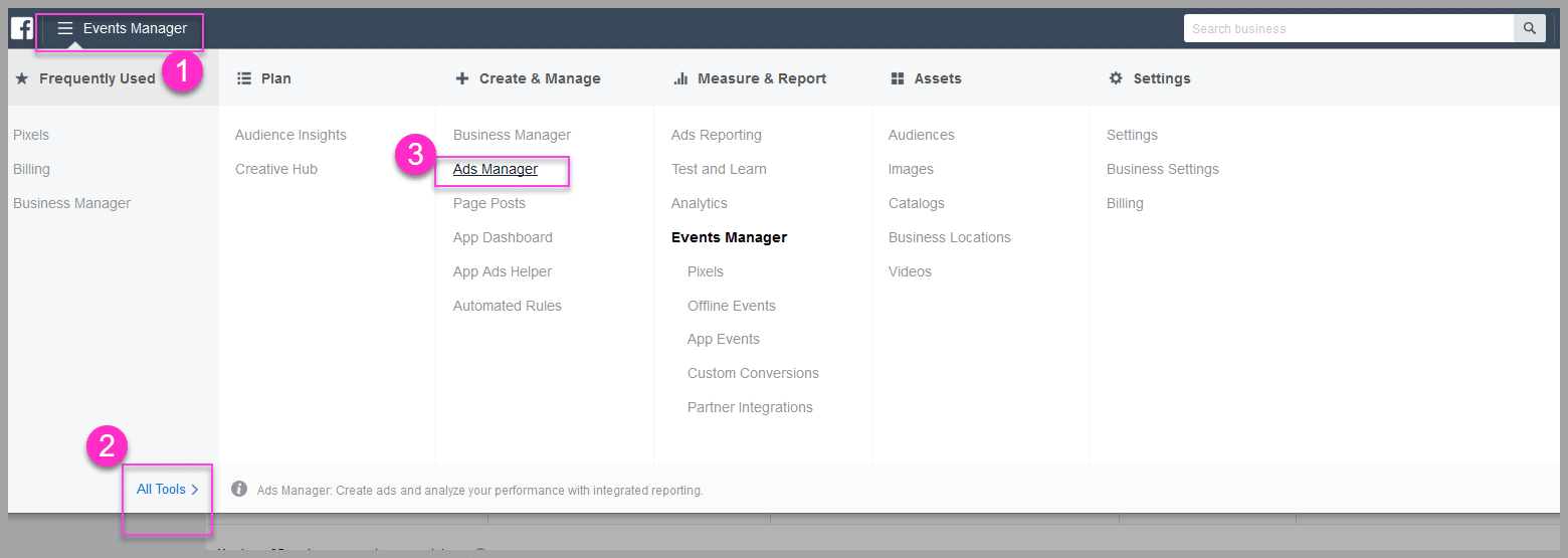 Go across into your facebook ads manager
