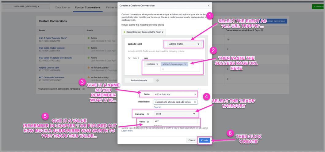 Set up your custom conversion details