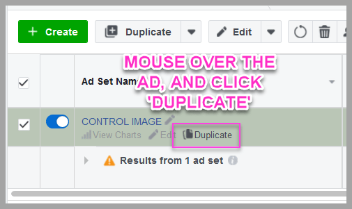 Duplicate the control image, to start testing the headline