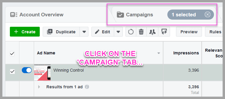 Duplicate the winning campaign and change the ad goal