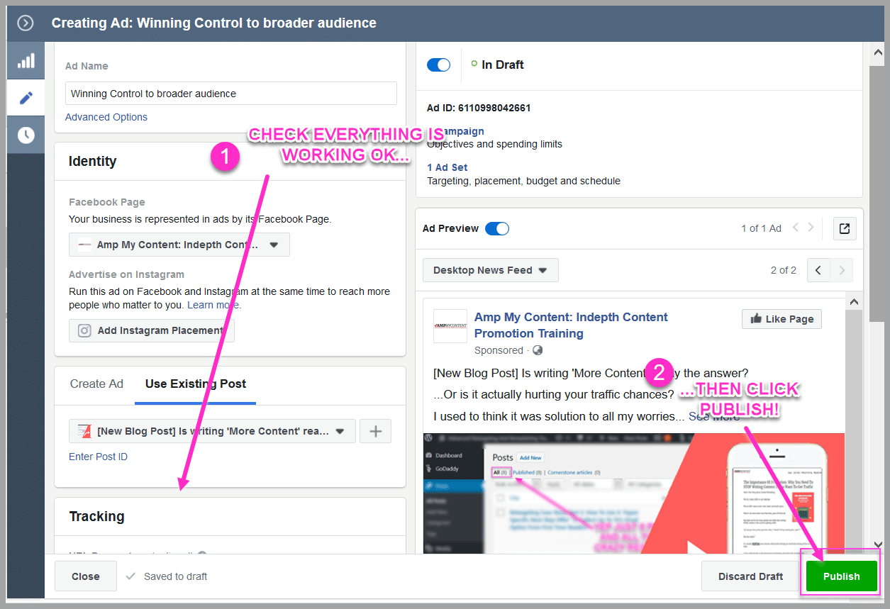 Make sure that your pixel tracking is turned on!