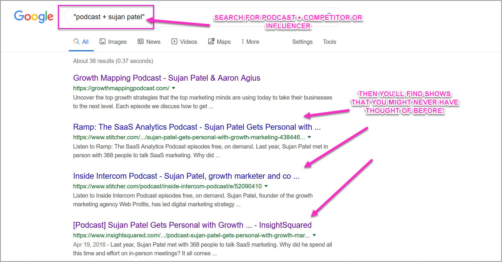 Search for competitors podcast appearances, so you can reverse engineer them
