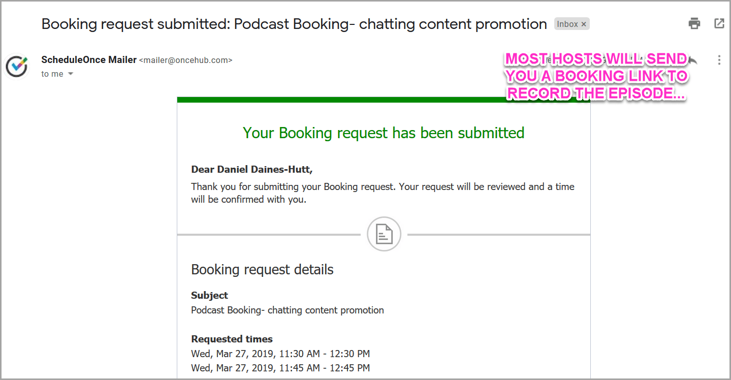 podcast confirmation email and booking link